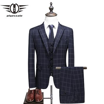 Elegant Plaid Suit Men Groom Wedding Tuxedo Jacket With Pants Slim Fit 3 Piece Business Wear