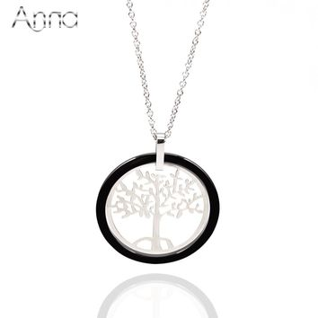 A&N Black & White Ceramic Round Pendant Necklaces For Women Stainless Steel Hollow Life Tree Ceramic Jewelry With Extended Chain