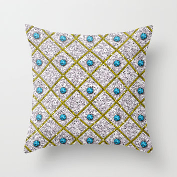 Glitters Silver Glitters Gold Criss Cross Pattern Throw Pillow by Tees2go