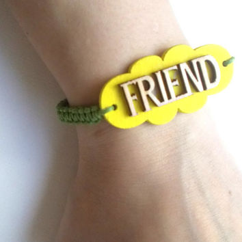 FRIEND Macrame bracelet - beaded wristlet - Jewelry for Him or Her - Gifts Under 10 - Natural Eco Jewelry - Eco Friendly Stocking Stuffers
