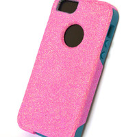 Custom iPhone 5 Glitter Otterbox Commuter Cute Case,  Custom  Glitter Bubble gum / Teal Otterbox Color Cover for iPhone 5