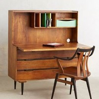 Retractable Writing Desk by Anthropologie Brown One Size Furniture