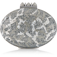 Christian Louboutin - Mina crystal-embellished suede clutch
