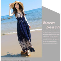 Temperament lady] Bohemian Floral Chiffon Dress