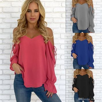 Sexy Womens Summer T Shirt Lace-up Chiffon Tops Long Sleeve Autumn Spring Causal Blouse Free Shipping Plus Size Women Clothing