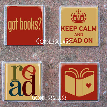 Glass Tile Magnet Set of 4 Librarians Read Keep Calm Bundle Got Books School Teaching