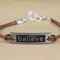 Believe bracelet Wax rope bracelet, the best gift
