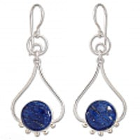 Lapis Lazuli and Sterling Silver Sun Song Hanging Earrings