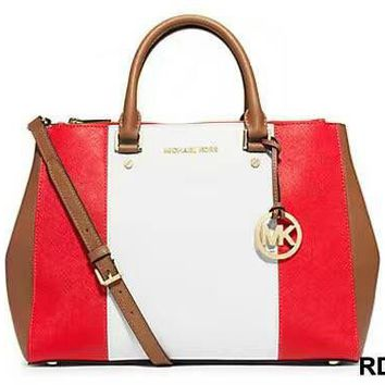 MCHAEL KORS Women Shopping Leather Tote Crossbody Satchel Shoulder Bag White red
