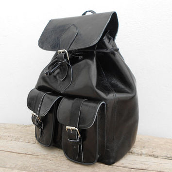 SALE - Black Leather backpack satchel bag Handmade Soft Leather School College Travel Picnic Weekend bag