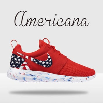 Custom Nike Roshe, Roshe Run, American Flag Roshe Run, Red Roshe Run, Roshe Run, Red and White Roshe Run