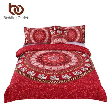 BeddingOutlet Red Mandala Boho Bedding Set Bohemian Elephant Messenger Indian Bed Linen Soft Fabric Moroccan Bedclothes 4Pcs