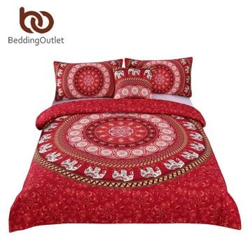 BeddingOutlet Red Mandala Boho Bedding Set