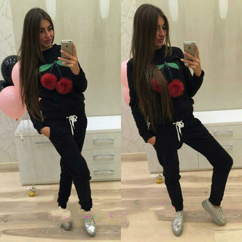 Russian Women Sweatshirt Hoodies Suits Puffer Ball Print Ice Cream Hair Plush Ball Casual Women Sweatshirt 2 Pieces Set GV400