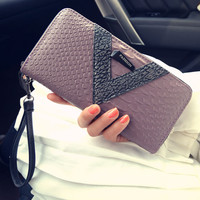 New Fashion Crocodile fancy women wallet long solid women clutch wallets high class purse free shipping