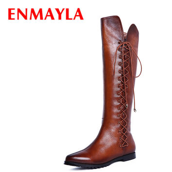 ENMAYLA New Fashion Black Brown Flats Knee High Boots Autumn Winter Flats Shoes Woman Lace-Up Long Boots Women Motorcycle Boots