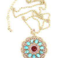 Turquoise and Pink Crystal Pendant - Buy From ShopDesignSpark.com