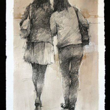 Andre Kohn Sisters drawing [Andre Kohn_A7190] - $99.00 oil painting for sale|Wonderful artwork|Buy it at once.