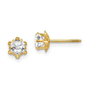 4mm Synthetic White Topaz Screw Back Stud Earrings in 14k Yellow Gold