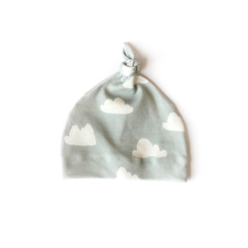 Organic Baby Knotted Hat Slate Clouds