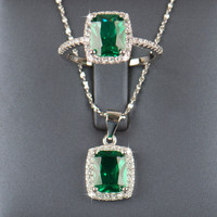 Natural Emerald Ring & Pendant Sterling Silver Set