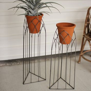 Raw Metal Church Window Stands With Clay Pots (Set of 2)
