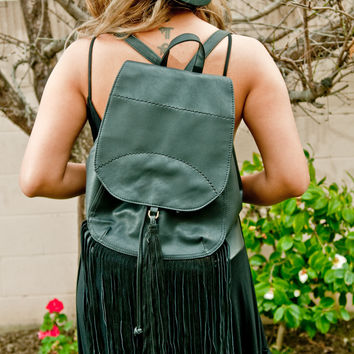 Black Jane Fringe Backpack Purse