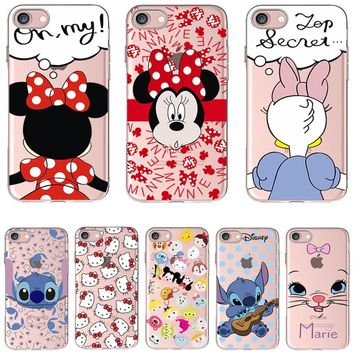 Soft Silicon Cover Case For Apple iPhone 8 7 7Plus 6 6S Plus 5S SE Cases i Phone X Shell Painted Cute Hello Kitty Marie