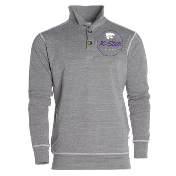 Official NCAA Kansas State University Wildcats KSU K-State	Women's Boyfriend Fit Triblend 1/4 Button Pullover Full Sleeve O-Neck Durable Premium Sweatshirt