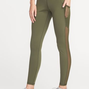 Mid-Rise Mesh-Pocket Compression Leggings for Women | Old Navy