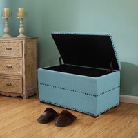 Blue European Style Tufted Rectangular Ottoman with Storage