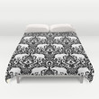 Elephant Damask Black and White Duvet Cover by Jacqueline Maldonado