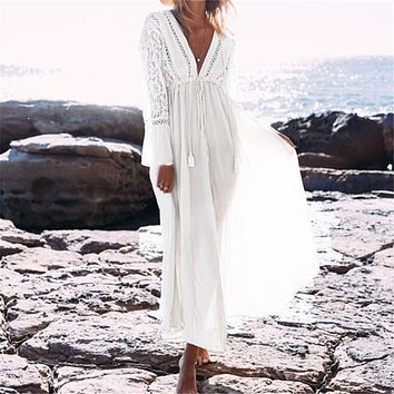 Kaftan Beach Long Dress Swimwear Tunics Beach 2018 White Dress Beachwear Cover ups Robe Crochet Playa