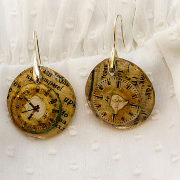 Big Steampunk earrings vintage watch parts resin earrings mechanic earring real watch parts steampunk jewelry original gift small earrings