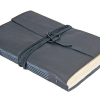 Large Black Leather Journal with Tea Stained Paper - Ready to Ship -