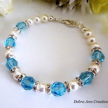March Birthstone Bracelet Aquamarine Birthstone Jewelry March Jewelry Swarovski Aquamarine Blue Crystal Bracelet March Birthday Gift For Her