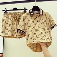 GUCCI Fashion New More Letter Print Sports Leisure Top And Shorts Two Piece Suit Khaki