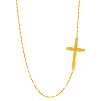 14K Yellow Gold Sideways Cross Pendant On 18 Inch Necklace