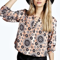 Lilly Ethnic Print Button Through Smock top