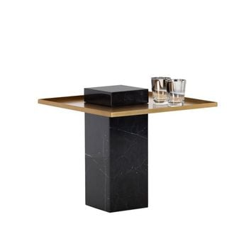 VENO BLACK MARBLE BASE WITH ANTIQUE GOLD METAL TOP END TABLE