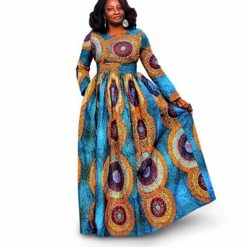 JUJU African Print Long Sleeve Maxi Dress