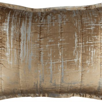 Moderne Straw and Silver Standard Pillow by Lili Alessandra