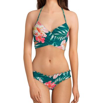 Coco Rave Tropical Vibes Summer Halter Bikini Wrap Underwire Top & Ariel Ruffle Edge Bikini Bottom | Dillard's