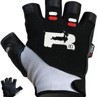 Authentic RDX Leather fitness Gym gloves Black White