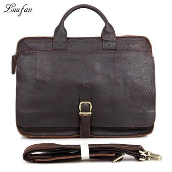 Men's genuine leather briefcase big capacity Real leather Laptop messenger bag Double zipper layer Business bag