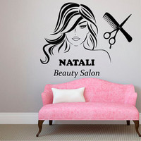 Custom Name Wall Decals Beauty Hair Salon Decor Logo Lettering Scissors Art Fashion Girl Woman Vinyl Decal Sticker Interior Design KG911