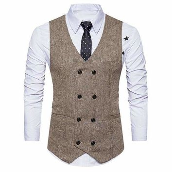 ICIKON3 men formal tweed check double breasted waistcoat retro slim fit suit jacket 1