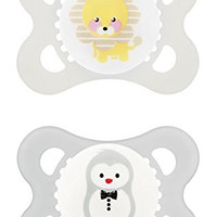MAM Animals Orthodontic Pacifier, Unisex, 0-6 Months, 2-Count