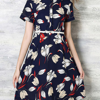Navy Lapel Belted Print A-Line Dress