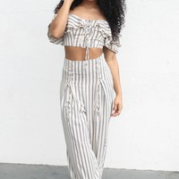 Cool Kid Beige Striped Set
